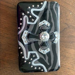 Clutch Wallet/Purse Black & Silver Patent Leather